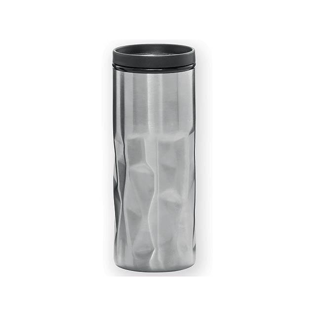 XERESA hrnek s dvojitou stěnou, plast a nerezová ocel, 520 ml, Saténově stříbrná - stříbrná