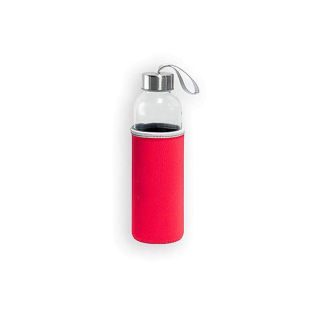 ZAYNA skleněná sportovní láhev, 520 ml, Červená - červená