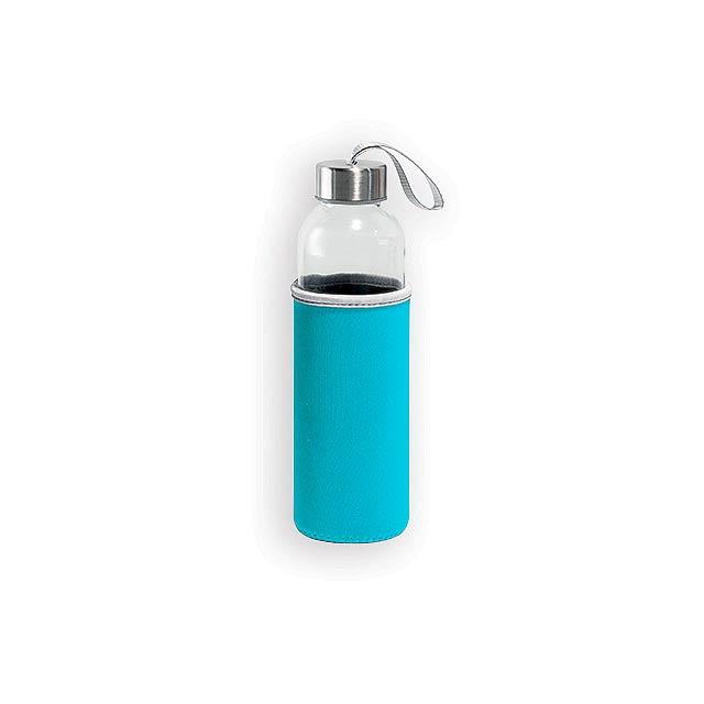 ZAYNA skleněná sportovní láhev, 520 ml, Světle modrá - modrá