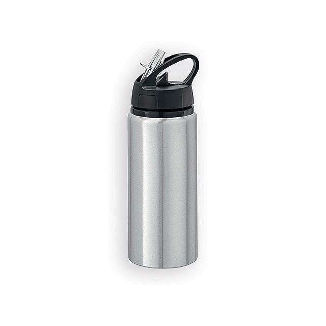 ZIBA hliníková outdoorová láhev, Saténově stříbrná - stříbrná