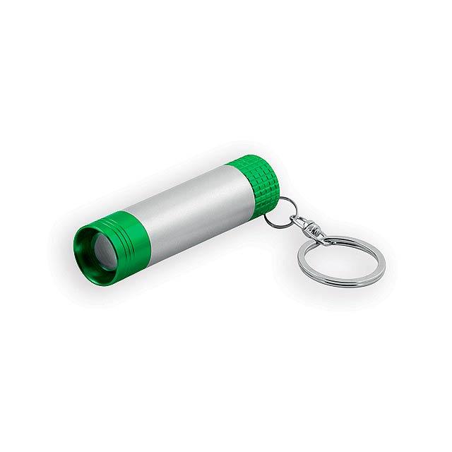 LOGOLIT kovový přívěsek - LED svítilna se svítícím logem, Světle zelená - zelená