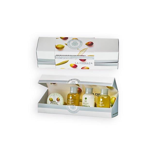 OLIVE SET kosmetická sada s olivovým olejem-sprch. gel, těl. mléko, šampon,, Bílá - multicolor