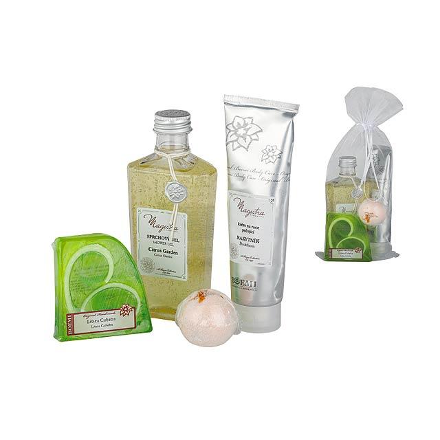 LEMON SET kosmetická sada citrus-sprch. gel, krém na ruce, mýdlo, šum. koule, Limetkově zelená - zelená