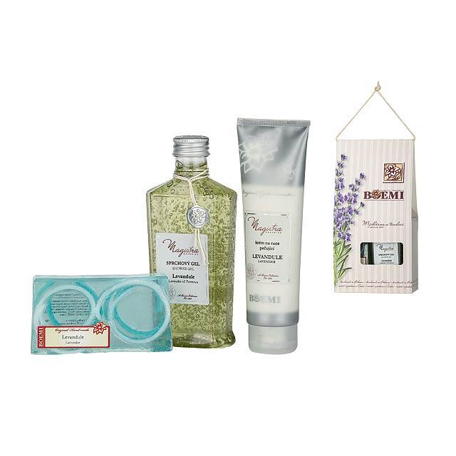 LAVANDA BOX kosmetická sada levandule-sprch. gel, krém na ruce,mýdlo, Světle modrá - multicolor