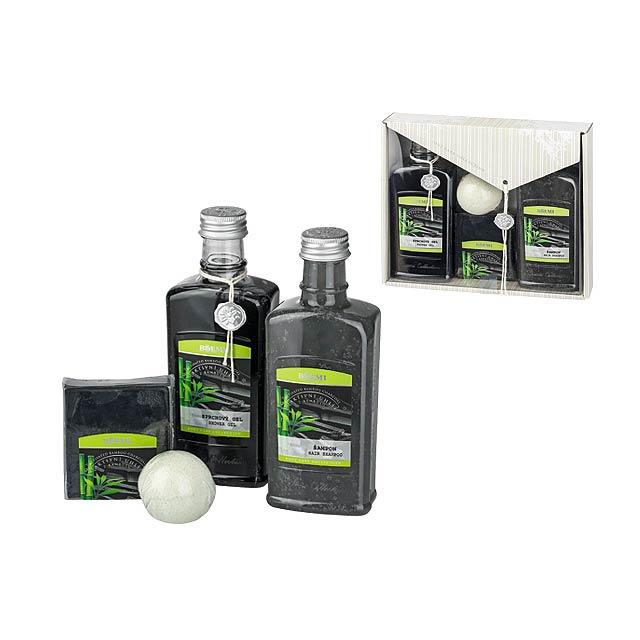 CARBONE SET kosmetická sada s aktivním uhlím-sprch. gel,šampon,mýdlo, šum. kou, Černá - multicolor
