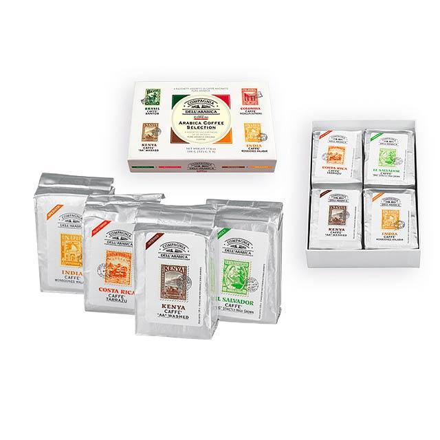 COFFEE WORLD dárková kazeta pražených mletých káv, 4x125g, Vícebarevná - multicolor