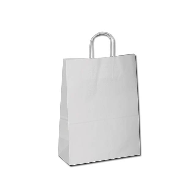 TWISTER - Gift bag made of sulphate paper with twisted paper handles in the colour of the bag. - white