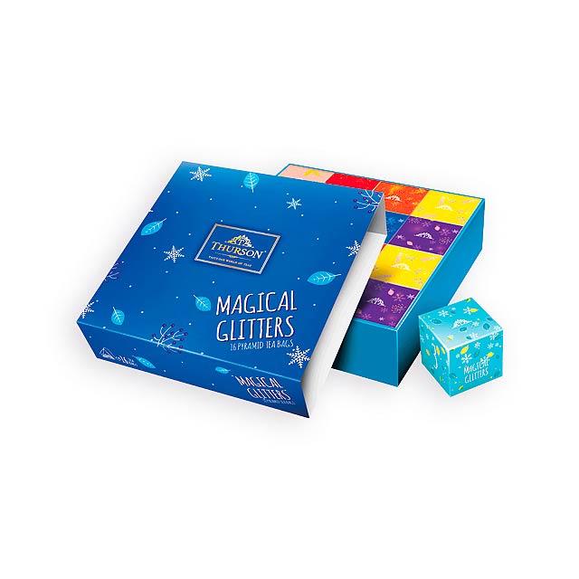 MAGICAL GLITTERS BLUE variace 4 druhů čajů, 16 sáčků, 32 g, Modrá - modrá