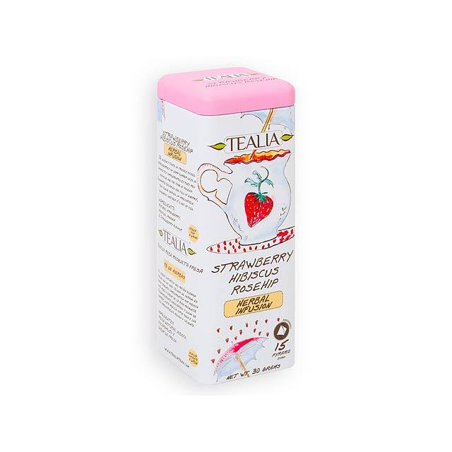 TEALIA STRAWBERRY ovocný čaj, 15 sáčků, 30 g, Růžová - multicolor