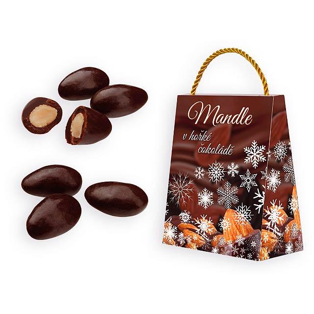 ALMONDO DARK mandle v hořké čokoládě v dárkovém balení, 200 g, Hnědá - hnědá