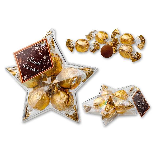 CHOCOSTELLA italské pralinky s oříškovou příchutí v dárkovém balení, 74 g, Zlatá - zlatá