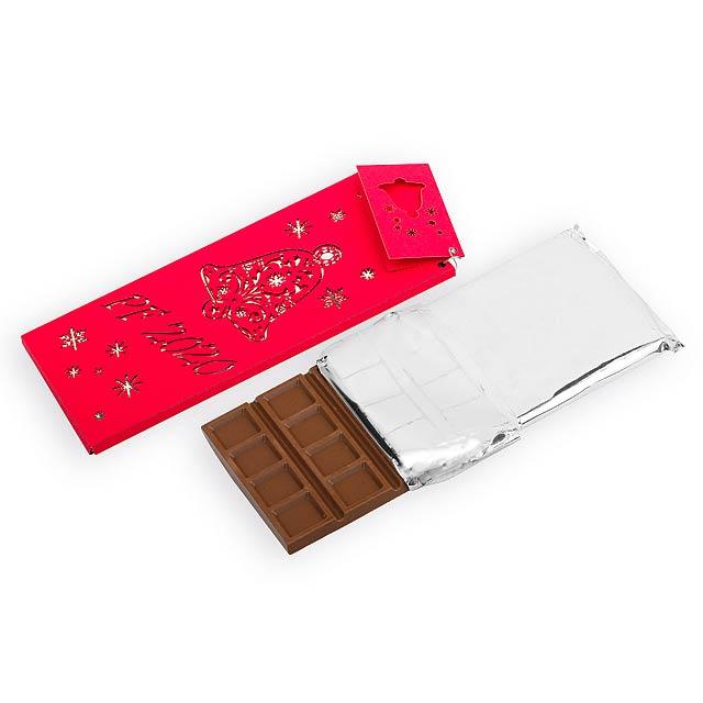 CHOCOLATE BELL mléčná čokoláda s mandlemi a malinami, 175g, Červená - červená