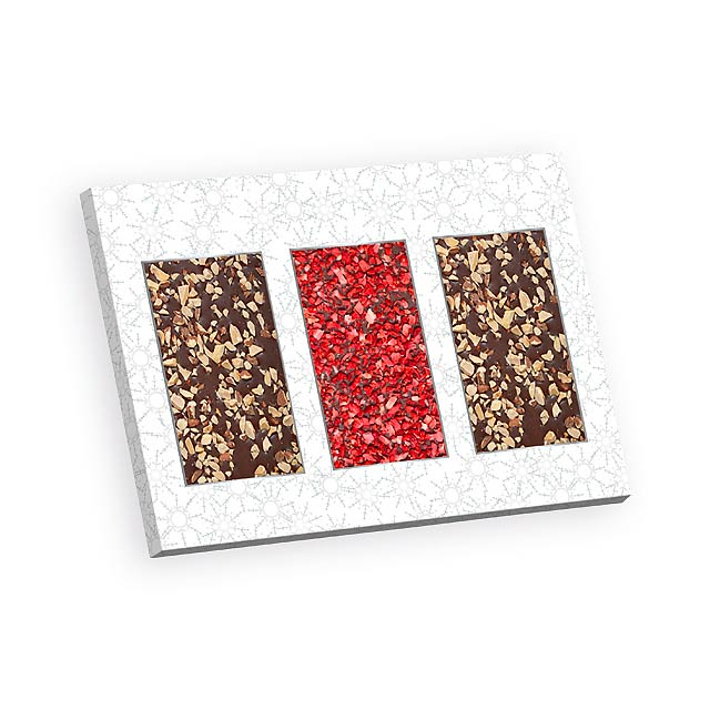 SWEET COMBINATION čokoláda s jahodovým a oříškovým posypem, Bílá - bílá