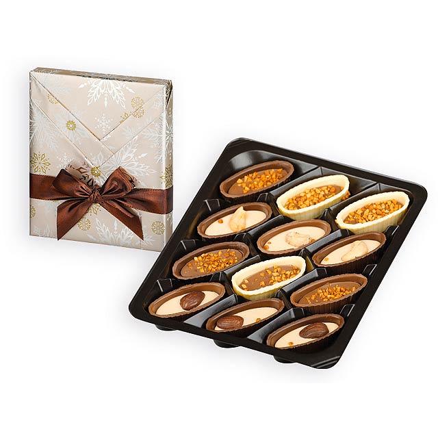 CHRISTMAS BOATS čokoládové lodičky s ořechy v dárkovém balení, 125g, Vícebarevná - multicolor
