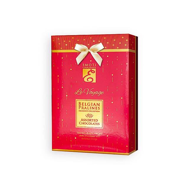 SPARKLE BOX Výběr belgických pralinek s náplní v dárkovém balení, 120g., Červená - červená