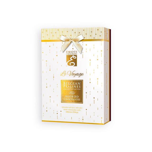 SPARKLE BOX Výběr belgických pralinek s náplní v dárkovém balení, 120g., Bílá - bílá