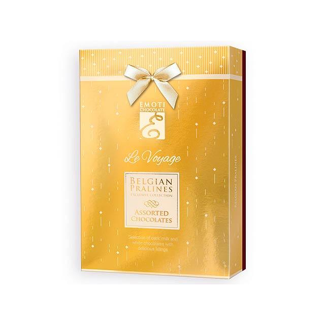 SPARKLE BOX Výběr belgických pralinek s náplní v dárkovém balení, 120g., Zlatá - zlatá