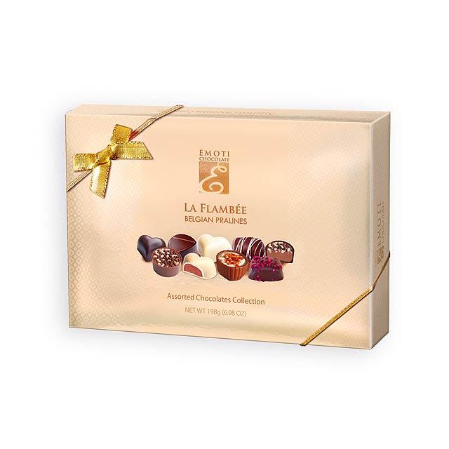 SWEET BOX Výběr belgických pralinek s náplní v dárkovém balení, 198g., Zlatá - zlatá