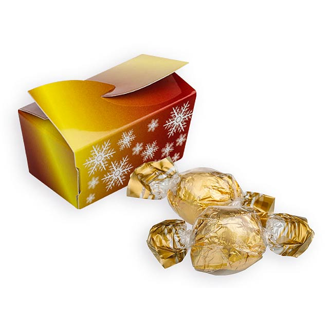 GOLD SNOWLAKE italské pralinky s kakaovou a oříškovou příchutí, 32 g, Zlatá - zlatá
