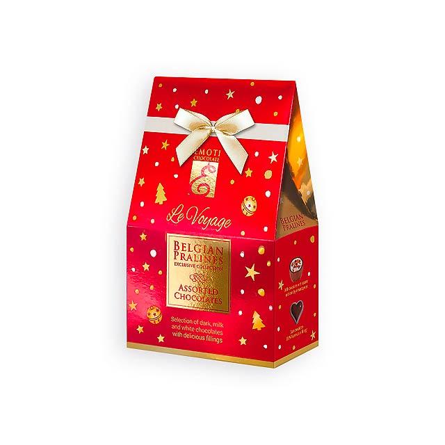 CHRISTMAS SWEETNESS Výběr belgických pralinek s náplní v dárkovém balení, 75g., Červená - červená