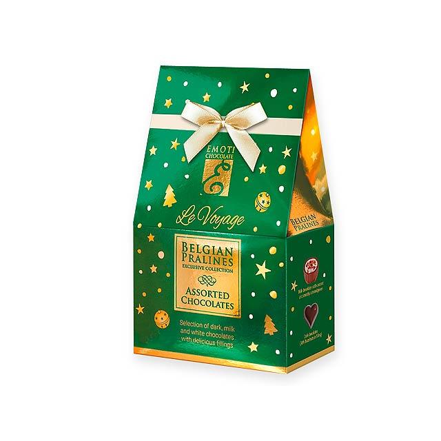 CHRISTMAS SWEETNESS Výběr belgických pralinek s náplní v dárkovém balení, 75g., Zelená - zelená