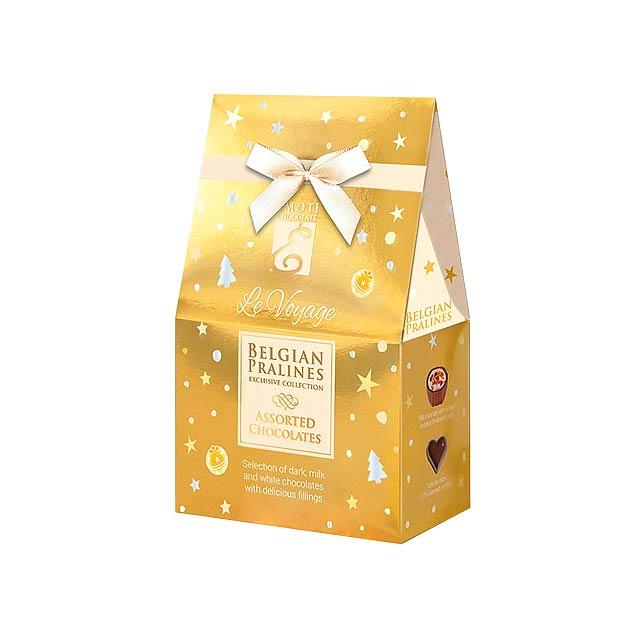 CHRISTMAS SWEETNESS Výběr belgických pralinek s náplní v dárkovém balení, 75g., Zlatá - zlatá