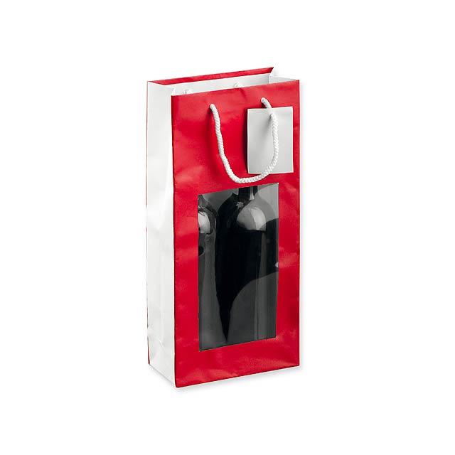 LEONA II - papírová taška na 2 láhve vína - červená