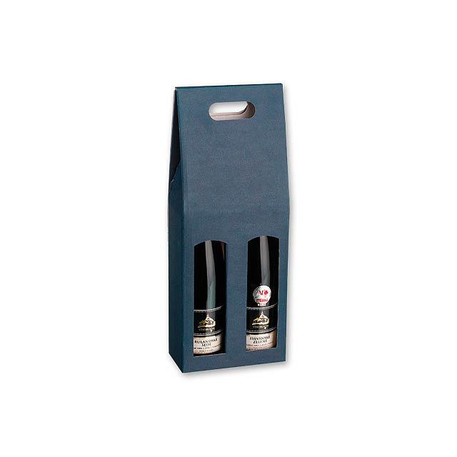 DOUBLE BOX - dárková krabice na 2 láhve vína - modrá