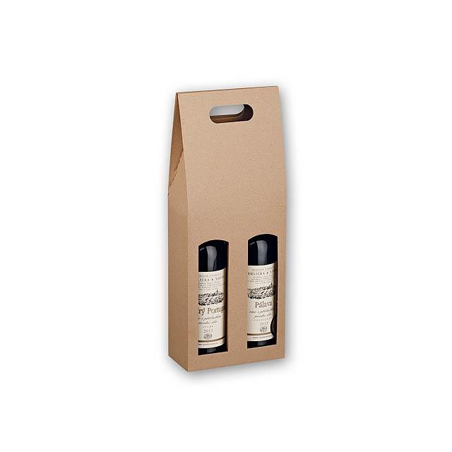 DOUBLE BOX - dárková krabice na víno - hnědá