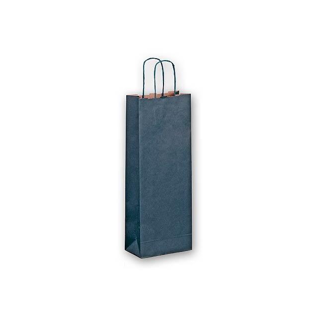 OLGA - dárková papírová taška na víno - modrá