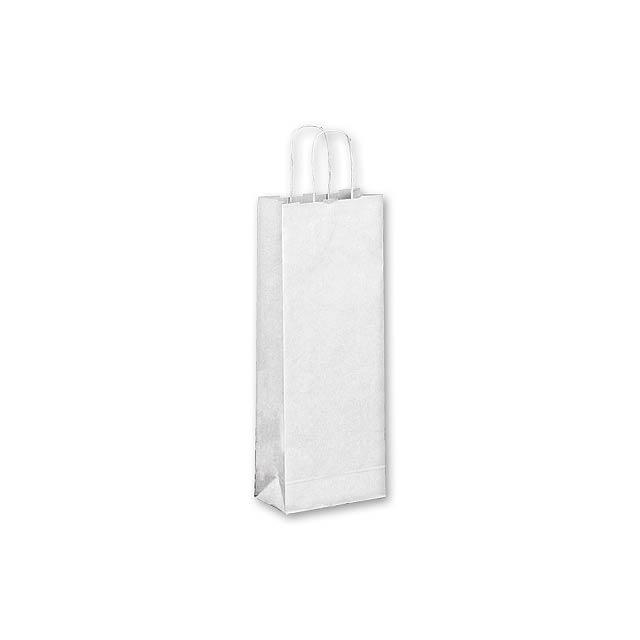 OLGA - dárková papírová taška na víno - bílá