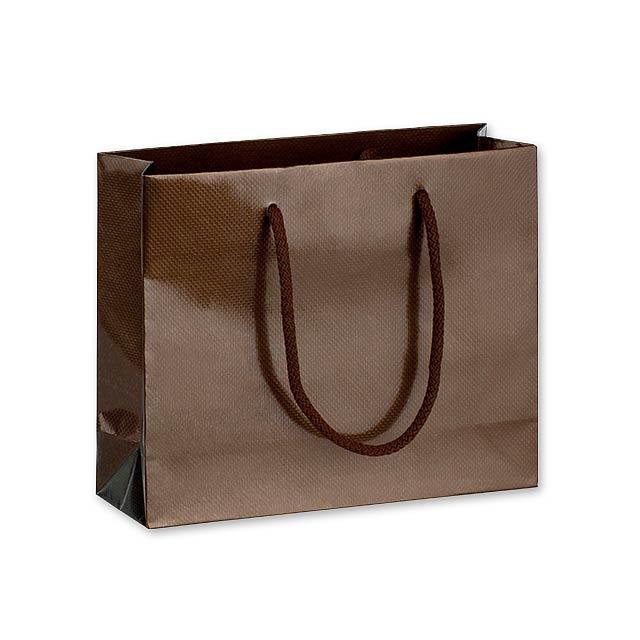 LUX QUADRA I dárková papírová taška, 24x20x9 cm, Hnědá - hnědá