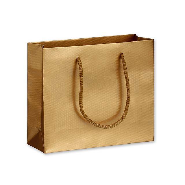 LUX QUADRA I dárková papírová taška, 24x20x9 cm, Zlatá - zlatá