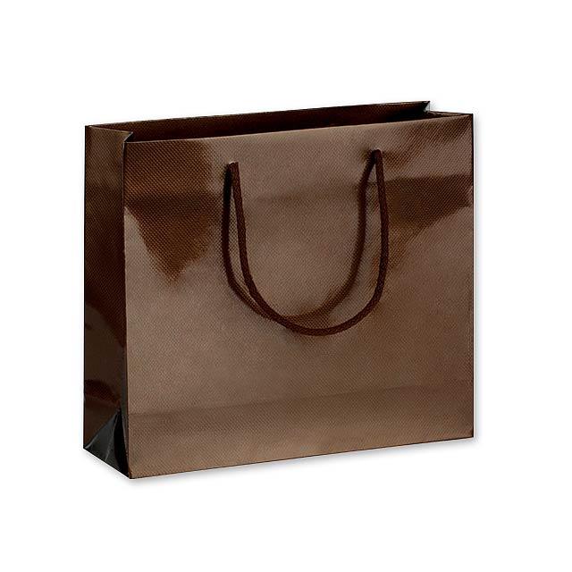 LUX QUADRA II dárková papírová taška, 32x27,5x10 cm, Hnědá - hnědá