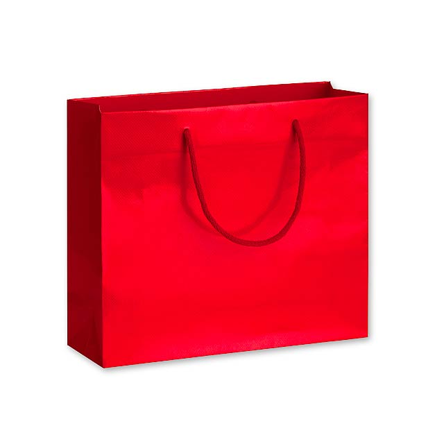 LUX QUADRA II dárková papírová taška, 32x27,5x10 cm, Červená - červená