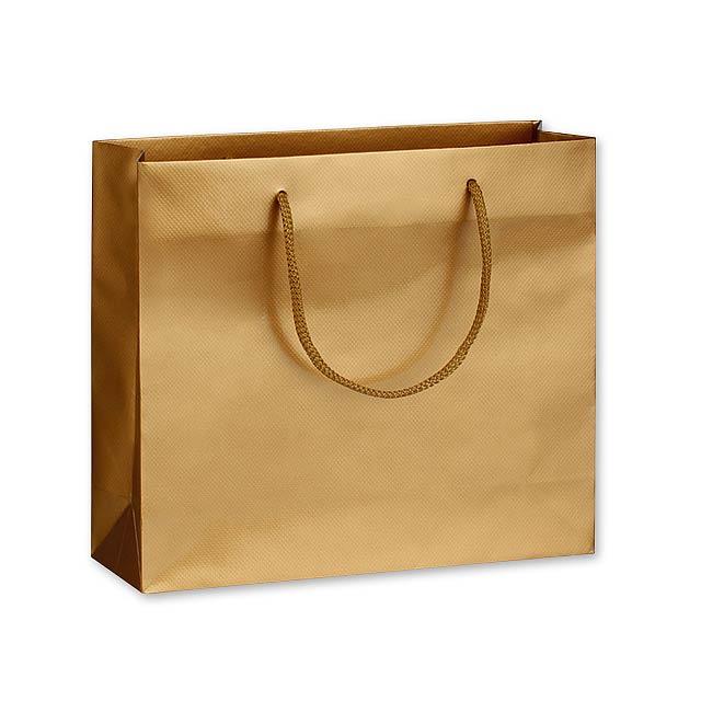 LUX QUADRA II dárková papírová taška, 32x27,5x10 cm, Zlatá - zlatá