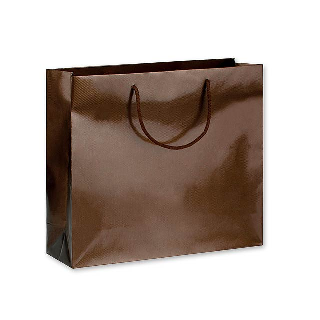 LUX QUADRA III dárková papírová taška, 42x37x13 cm, Hnědá - hnědá