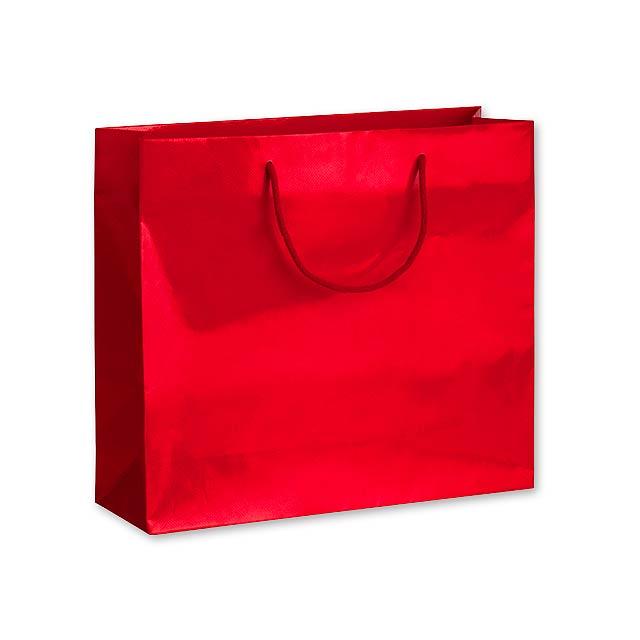 LUX QUADRA III dárková papírová taška, 42x37x13 cm, Červená - červená