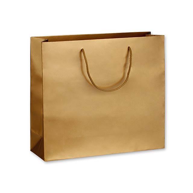 LUX QUADRA III dárková papírová taška, 42x37x13 cm, Zlatá - zlatá