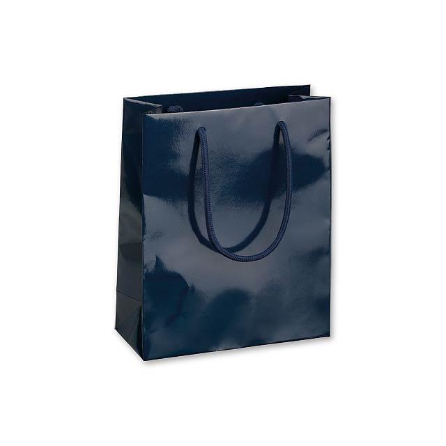 BLUE LUX II dárková papírová taška, 22x10x27,5 cm, Modrá - modrá