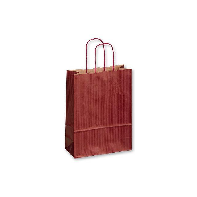TWISTER BORDO I - papírová dárková taška, 18x8x25 cm - vínová