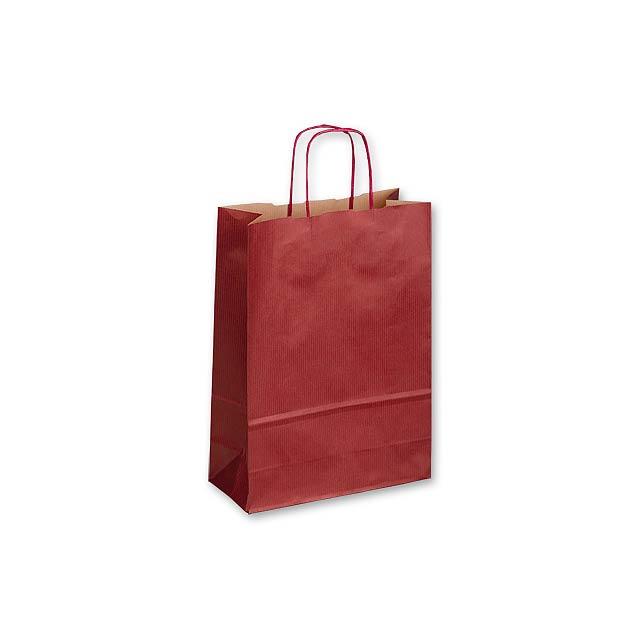 TWISTER BORDO II - papírová dárková taška, 23x10x32 cm - vínová