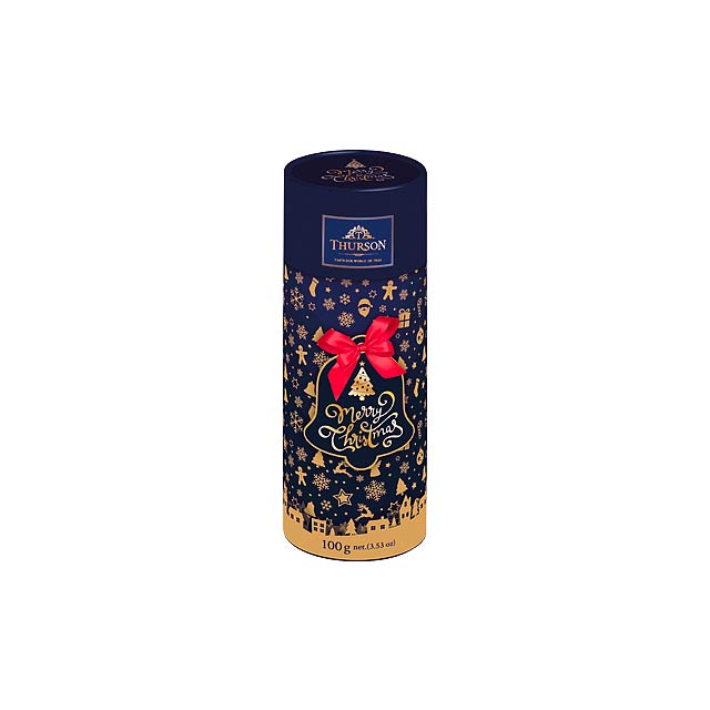FROSTY FEST III dárková tuba s černým sypaným čajem, 100g, Modrá - modrá
