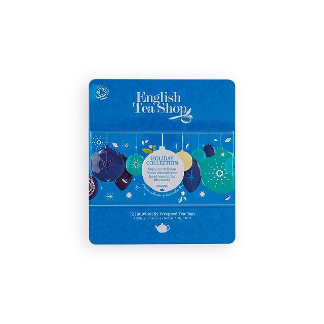 WINTER COLLECTION luxusní plechová kazeta čajů, 9 příchutí, 72 sáčků, Modrá - modrá
