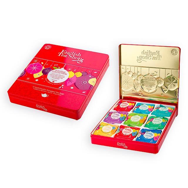 WINTER COLLECTION luxusní plechová kazeta čajů, 9 příchutí, 72 sáčků, Červená - červená