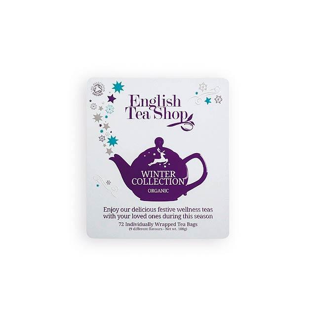 WINTER COLLECTION luxusní plechová kazeta čajů, 9 příchutí, 72 sáčků, Bílá - bílá