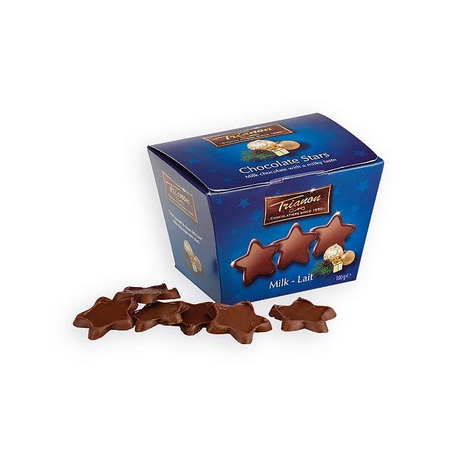 MINI STARS hvězdičky z mléčné čokolády, 100g, Modrá - modrá