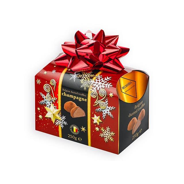 CHAMPAGNE TRUFFLES belgické čokoládové lanýže v dárk. balení, příchuť champagne, 250g, Červená - červená