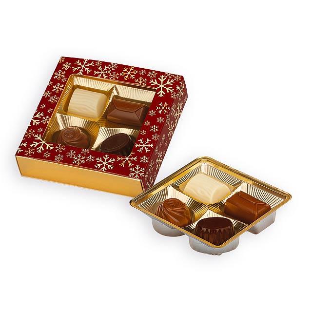 CHOCO FLAKE výběr belgických pralinek, 50g, Červená - červená