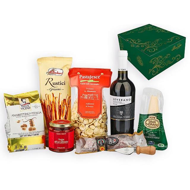RICCO dárková sada s italskými potravinami a vínem, Vícebarevná - multicolor